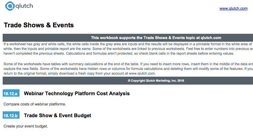 Content In The Excel Files For Calculations Qlutch. Trade Shows And Events. Worksheet. Worksheet Calculate Event At Clickcart.co